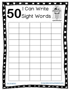 50th Day of School Sight Word Practice FREEBIE