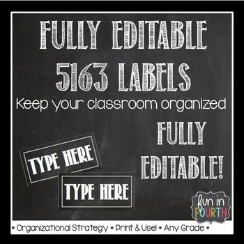 Editable Chalkboard Themed 5163 Labels