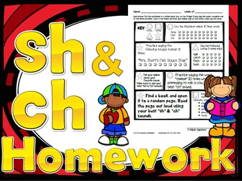 52 weekly /sh/ & /ch/ homework printables - speech therapy