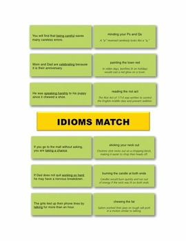 Idioms Match Manipulatives