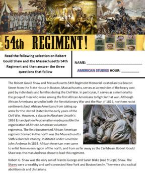 54th Massachusetts Memorial - Picture Analysis