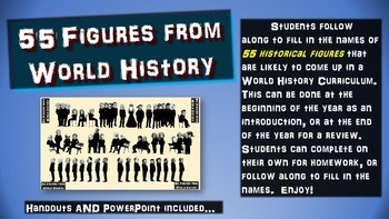 55 Figures from World History: handouts & PPT for intro or