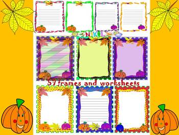Fall - Frames and Writing paper - Clip Art - Autumn leaves