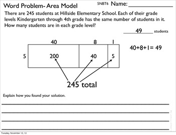 5NBT6 Division Using Area, Repeated Sub. and Standard Models
