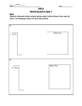 5.NBT.6 Partial Quotient Quiz