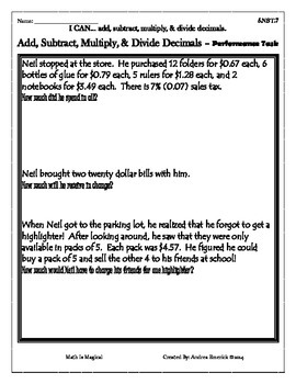 5.NBT.7 - Add, Subtract, Multiply, and Divide Decimals - P