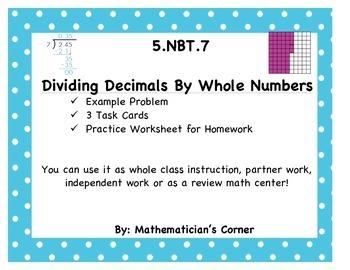 5.NBT.7 Dividing Decimals by Whole Numbers