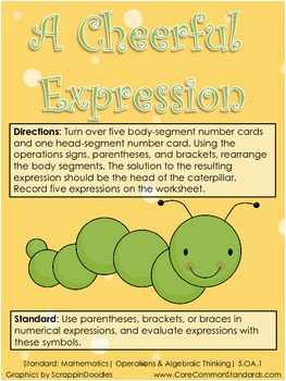 5.OA.1 Fifth Grade Common Core Worksheets, Activity, and Poster