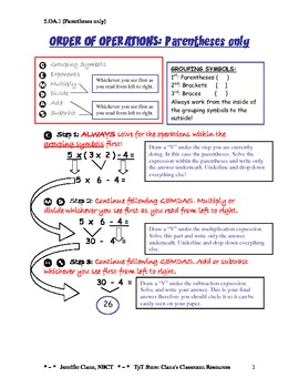 5.OA.1 Order of Operations Notes