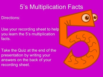 5's Multiplication Facts Interactive Powerpoint with Graph