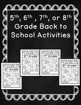 5th, 6th, 7th, and 8th Grade First Day of School Activities