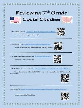 5th 7th Social Studies QR Code- Review, Reinforcement or S