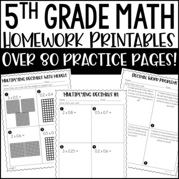 5th Common Core Math Homework Printables by Jennifer Findley ...