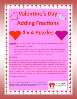 5th (Fifth) Grade Comm. Core- Valentine's Day Adding Fract