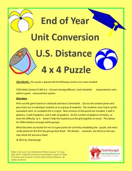 5th (Fifth) Grade Common Core-End of Year U.S. System Leng