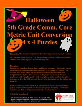 5th (Fifth) Grade Common Core- Halloween Metric Length Uni