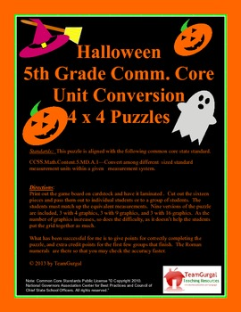 5th (Fifth) Grade Common Core- Halloween U.S. System Lengt