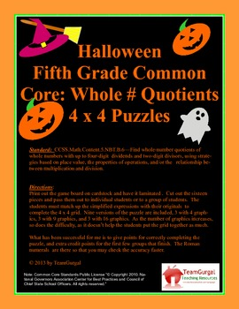 5th (Fifth) Grade Common Core- Halloween Whole Number Quot