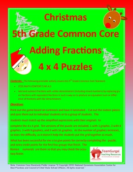 5th (Fifth) Grade Common Core Math- Christmas Adding Fract