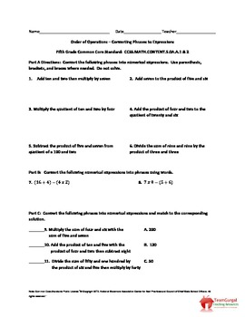 5th (Fifth) Grade Common Core Math Worksheet - Converting