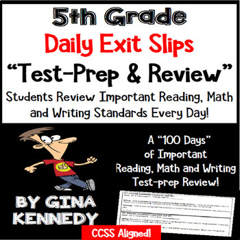 5th Grade Math, Writing & Reading Daily Test-Prep Review E