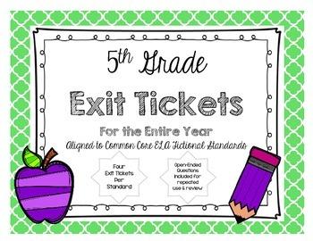 5th GRADE READING LITERATURE TEXT EXIT TICKETS