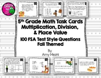 5th Grade 100 Math Task Cards FSA Style Questions Ink Save