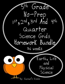 BUNDLE - 5th Grade Science Grids No-Prep Homework -  36 We