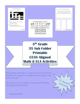 5th Grade 35 CCSS Aligned worksheets & activities-for Sub