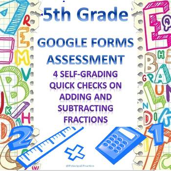 5th Grade Add and Subtract Fractions 4 Quick Checks Google