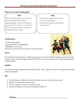 5th Grade American Revolution Project Packet