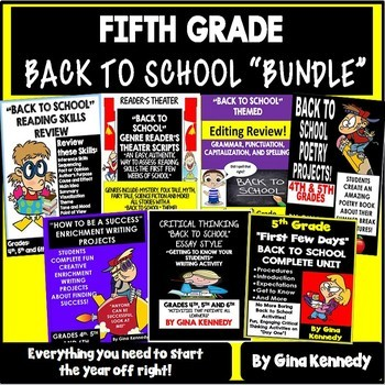 """5th Grade """"Back To School"""" Reading and Writing Bundle!"""