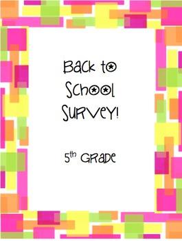 5th Grade Back to School Survey
