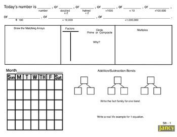 4th/5th Grade Common Core Math Calendar:  Concepts & Numbe
