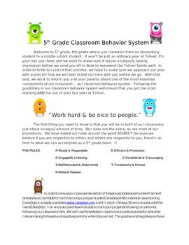 5th Grade Behavior Management Plan-Using Class Dojo
