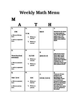 5th Grade CCGPS Math Choice Homework Menu- Order of Operations