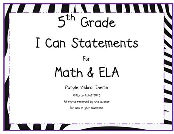 5th Grade Common Core Math and ELA I Can Statements Purple