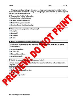 5th Grade CCSS Prepositions Assessment L.5.1a