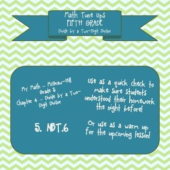5th Grade Chapter 4 Math Tune Ups - McGraw Hill - Division