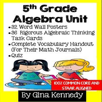 5th Grade Algebra Unit, Handouts, Word Wall, Task Cards an