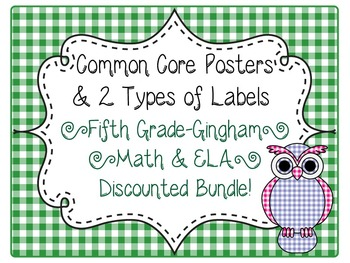 5th Grade Common Core CCSS Labels and Posters Math and ELA