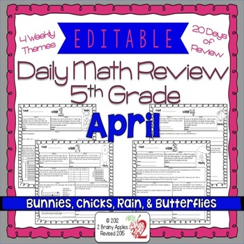 Math Morning Work 5th Grade April Editable