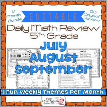 Math Morning Work 5th Grade Bundle Editable