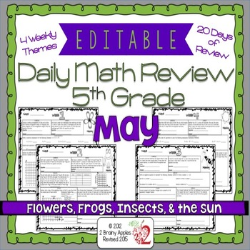 Math Morning Work 5th Grade May Editable
