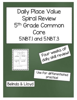 5th Grade Common Core Daily Place Value Review--4 Weeks of