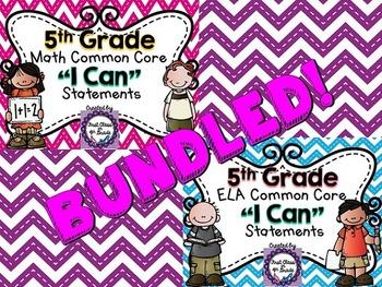 """5th Grade Common Core ELA & Math """"I Can"""" Statements (Chevron)"""