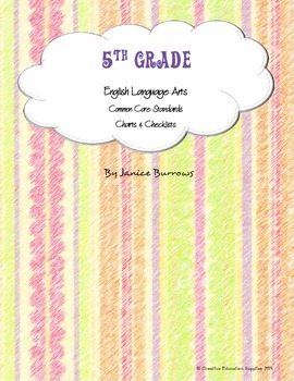 5th Grade Common Core English Language Arts Charts & Checklists
