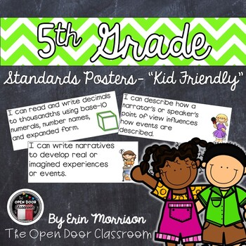 "5th Grade Common Core ""Kid Friendly"" Posters- Math"