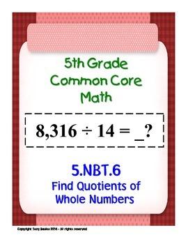 5th Grade Common Core Math 5 NBT.6 Find Quotients of Whole
