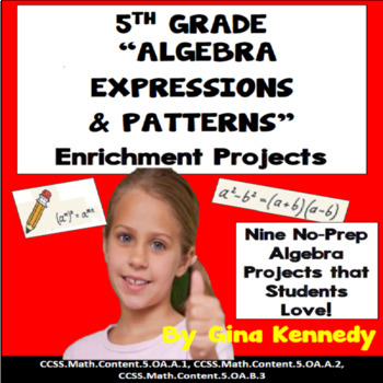 5th Grade Algebra and Patterns Math Enrichment Projects, P